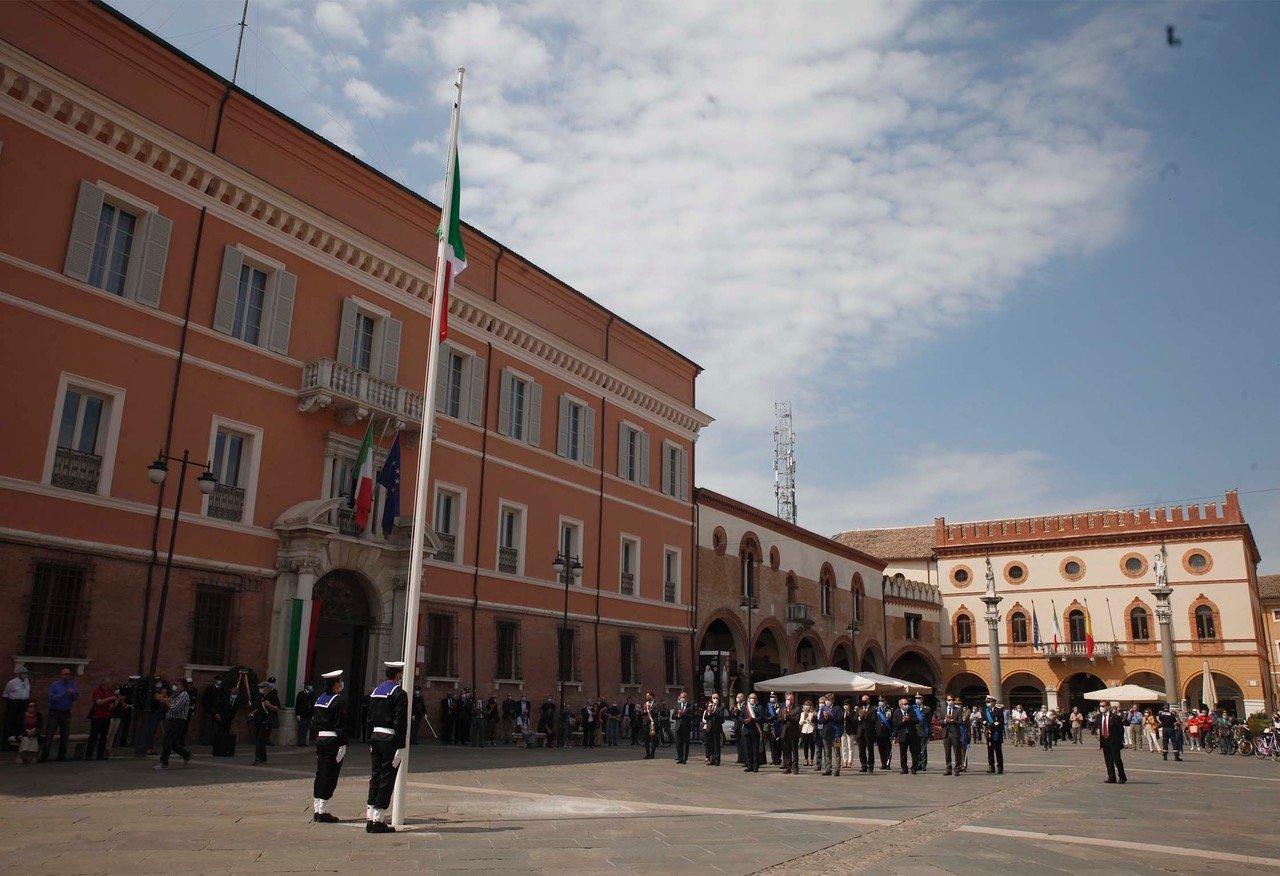 Celebrazioni della Festa della Repubblica 2020 in Piazza del Popolo a Ravenna