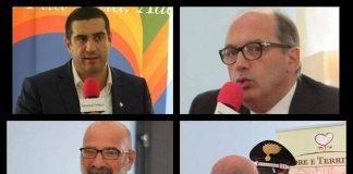 In alto a sx: Michele de Pascale. In alto a dx: Carlo Serafini. Nei quattro riquadri in basso: Giovanni Morgese