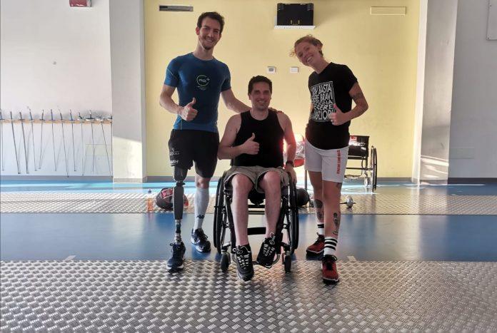 Da sx: Emanuele Lambertini (atleta paralimpico della nazionale italiana, ha fatto le paraolimpiadi a Rio 2016), Matteo e Isabella Signani