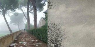 A sx: degrado nella passeggiata storica fra le antiche mura. A Dx: foto storica della passeggiata che conduce alla chiesa di Santa Maria al Torrione sulle Mura