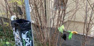 Sacchetti per gli escrementi dei cani e rifiuti di vario tipo nella zona delle antiche mura di Ravenna