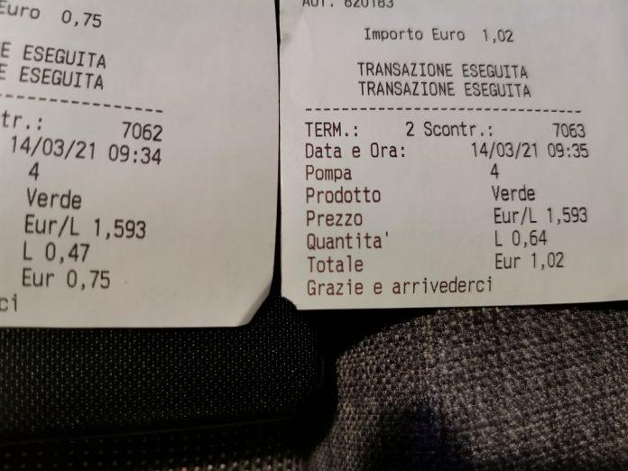 Scontrini di micro-rifornimenti effettuati presso il benzinaio di Faenza